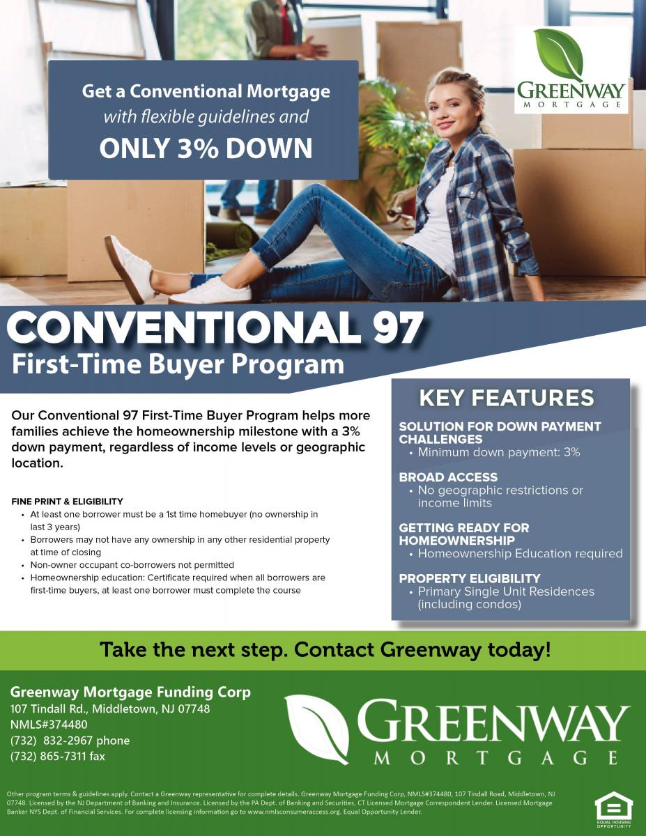 Conventional 97 First Time Buyer Program Greenway Mortgage